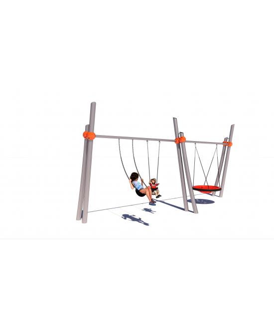 Opposing Twin Pillar Two Bay Swing