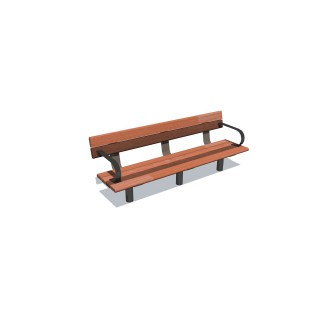 1.8m Cedar-Mink Bench Seat w 2 Arms