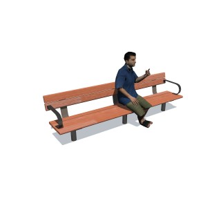 2.4m Cedar Bench Seat w 2 Arms