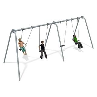 Junior Swing 2 Bay Stainless Steel (4 Flat Seats)
