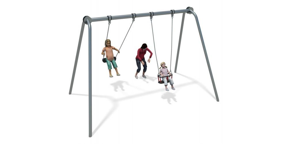 Junior Swing Stainless Steel (1 Cradle 1 Flat Seat)