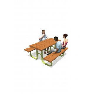 Poly Picnic Table 84' Table with 1 x 60' Seat, 2 x 14' Seats - Moveable - LS240
