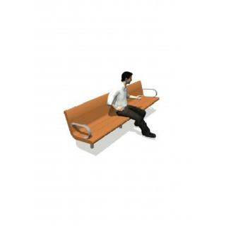 Recycled Contour Series Bench 96' with Backrest, with 2 x Armrests 2' - LS032