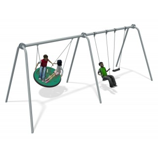 Team Swing 2 Bay Stainless Steel (2 Flat 1 Team Seat Green)