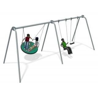 Team Swing 2 Bay Stainless Steel (2 Flat 1 Team Seat Green)