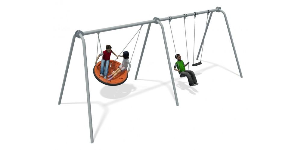 Team Swing 2 Bay Stainless Steel (2 Flat 1 Team Seat Orange)
