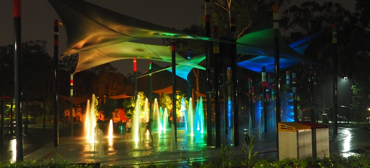 Logan Gardens Waterpark with interactive nighttime activation