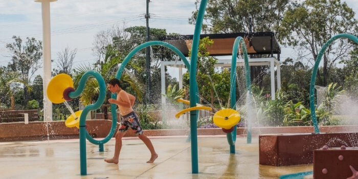 Life size interactive waterplay features