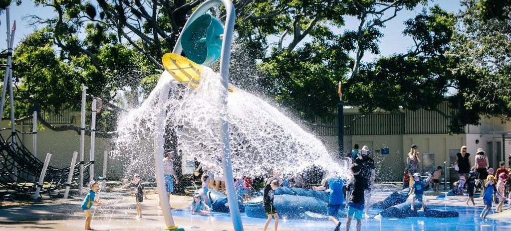 Custom Splashpark design for Brisbane City Council featuring a bespoke whale family